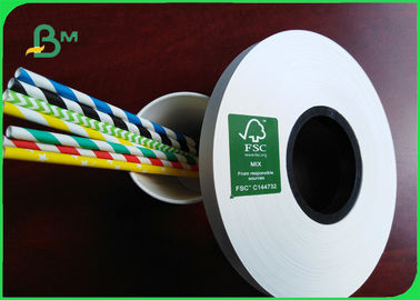 China 14mm * 60 GSM Food Grade White Paper Roll For Paper Drinking Straws FSC Approved supplier